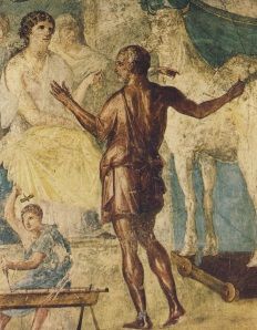 """Ο Δαίδαλος, έχει την εκτίμηση των πάντων, ο περίφημος αρχιτέκτων γλύπτης εφευρέτης και  κατασκευαστής - δεσπώζει στη τοιχογραφία της πλατείας των ¨Λανθασμενων επινοησεων""""(εδώ ρωμαϊκή απεικόνιση με την Βασίλισσα"""