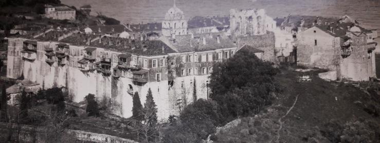 """Φωτογραφία της Μονής Ιβήρων , του αρχιφωτογράφου του """"Σουλτάν Χαμίδ """"(αρχείο Αλκμάν)"""