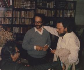 δεξιά Νίκος Βιδάκης, αριστερά Μανόλης Αναγνωστάκης 1989