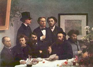 Ζωγραφικός πίνακας, αριστερά Βερλαίν, δίπλα του Ρεμπώ (φωτο διαδικτύου)