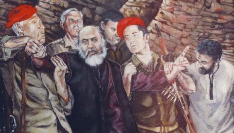 Σκηνή από το έργο του Καζαντζακη, ο Τσικαλάς στο κεντρο (πίνακας του Ρουσσέτου Παναγιωτάκη)