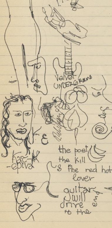 Η κιθάρα  είναι στην καρδιά των νέων, έχει γίνει ηλεκτρική-σκίτσο σε τετράδιο της 3ης Λυκείου (του Σπύρου Ζ.)