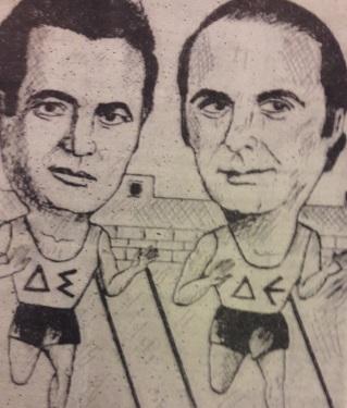 Σκιτσο της εποχης, οι δυο Μανοληδες(εφημ ΠΑΤΡΙΣ, αγιογράφος Μανουσακης)