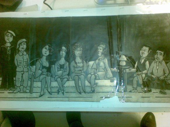 """Το μεγάλο σκίτσο """"Το μπορντελο"""" του Λάκκου, μπορεί να το δει κανει το καφενείο του Α""""ιβαλιώτη"""
