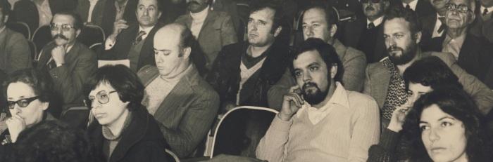 1975-80 στο ΤΕΕ μαζευόταν όλη η Κρήτη. Στο κέντρο Γ.Κατσανεβάκης μεταξύ Ν.Πετρακη και Γ.Γαλενιανού.
