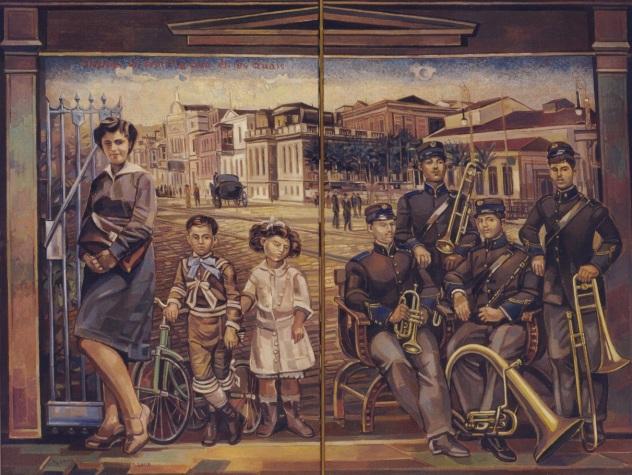 """Η ζωγραφική του αποκτά """"μνημειακές διαστάσεις"""" Σμύρνη λάδι 0,90Χ1,20 μ"""