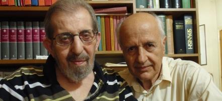 Ο Νίκος Λογοθέτης με τον φίλο του Γιώργο Ζεβελάκη - κριτικό της λογοτεχνίας.