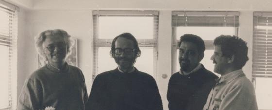 1976-78, γραφείο Ρ.Χούρδου 4/από Δεξιά Μ.Βασιλάκης, Γ.Γαλενιανός (πρόεδροι ΤΤΕΕ Α.Κρήτης)Β.Ζεβελάκης, Σ.Καμάρης