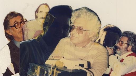 Σίφης Καμάρης, δεκαετία 1980-90, κολαζ στο γραφείο του της οδού Ρ. Χούρδου στο Ηράκλειο