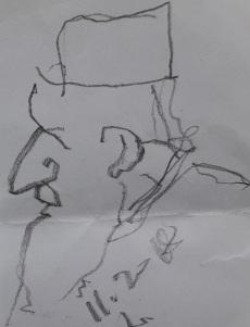 Σκίτσο του προ-ηγουμενου της Μονης Σταυρονικήτα Βασιλείου Γοντικάκη (αρχείο Αλκμάν)