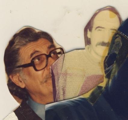 Κολάζ: Μανόλης Αναγνωστάκης και μανόλης Ρουσάκης, σε γραφείο στο Ηράκλειο/1976